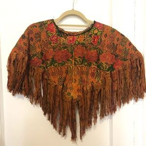 Vintage weaved short poncho